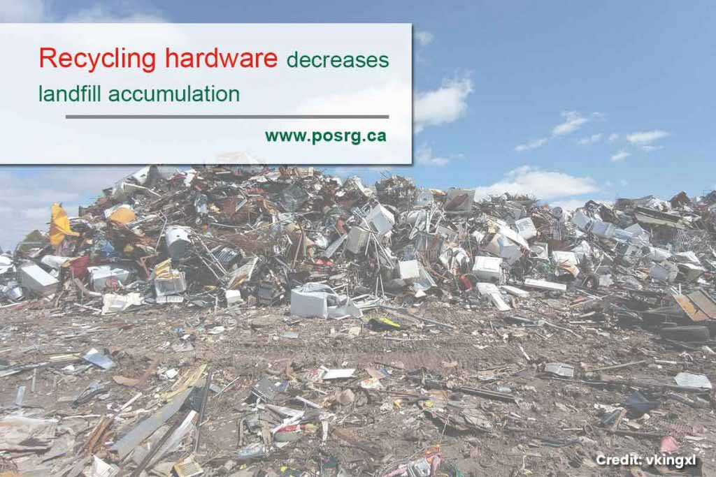 Recycling hardware decreases landfill accumulation